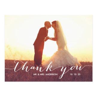 Foto-Hochzeit der Handschrifts-2 danken Ihnen Postkarte