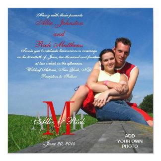 Foto-Hochzeits-Einladungs-Monogramm-rotes Weiß Quadratische 13,3 Cm Einladungskarte