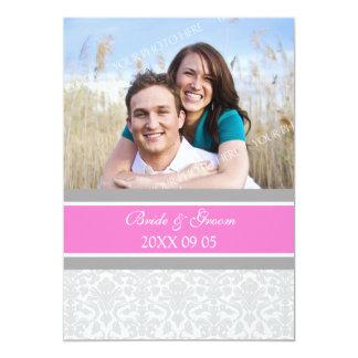Foto-Hochzeits-Einladungs-Rosa-Grau-Damast 12,7 X 17,8 Cm Einladungskarte