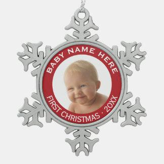 Foto-individueller Name und Jahr des Babys erster Schneeflocken Zinn-Ornament