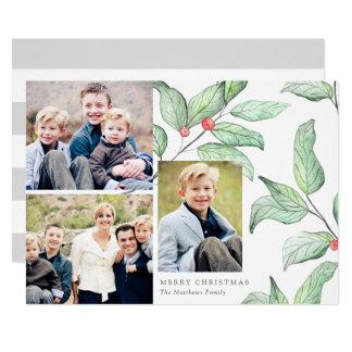 Foto-Karte des Winter-Beeren-Feiertags-3 12,7 X 17,8 Cm Einladungskarte