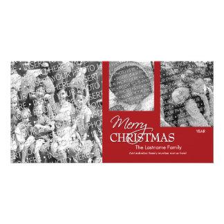 Foto-Karte: Frohe Weihnachten einfach rot Personalisierte Photo Karte