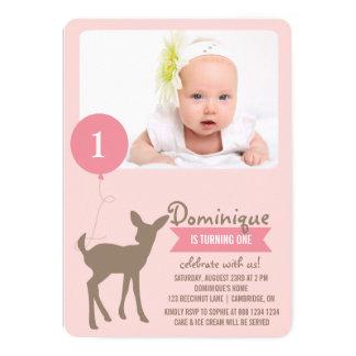 Foto-Kindergeburtstag-Einladung der Baby-Rotwild-| 12,7 X 17,8 Cm Einladungskarte