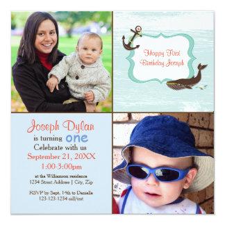 Foto-Kindergeburtstag-Einladung des Blauwal-2 Karte