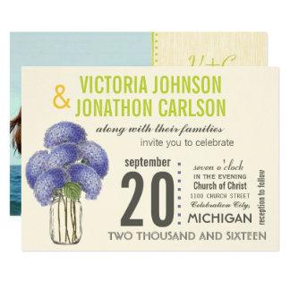 Foto-LavendelLimone Hydrangea-Maurer-Glas-Hochzeit 12,7 X 17,8 Cm Einladungskarte