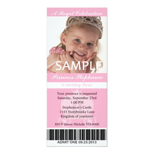 Foto-Prinzessin Party Ticket Karte