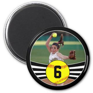 Foto u. Jersey-Zahl Fastpitch Softball-Magnet Runder Magnet 5,7 Cm