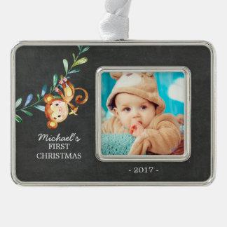 Foto-Verzierung des Affe-Babys erste Weihnachts Rahmen-Ornament Silber