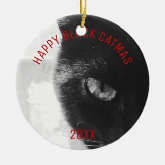 Foto-Verzierung glückliches schwarzes Catmas Keramik Ornament