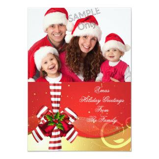 Foto-Weihnachtsfeiertags-Weihnachtsgruß-Goldrot Individuelle Einladungskarte
