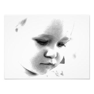 fotodruck mit babygesicht in schwarz/weiss