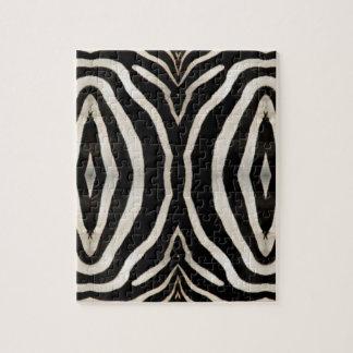 Fotografie des Pelzes eines wirklichen Zebras Puzzle