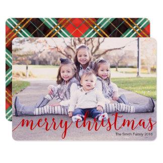 Fotokarte der frohen Weihnachten, rote karierte Karte