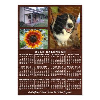 Fotos der 2018 Jahr-Monatskalender-hölzerne Magnetische Karte