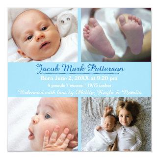 Fotos des Blau-4 - Geburts-Mitteilung Quadratische 13,3 Cm Einladungskarte