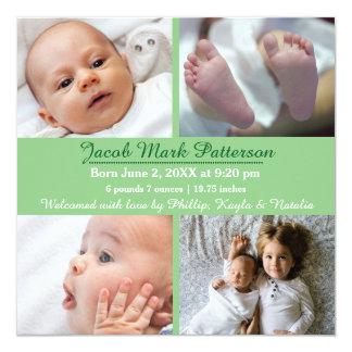 Fotos des Grün-4 - Geburts-Mitteilung Quadratische 13,3 Cm Einladungskarte