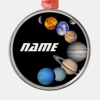 Fotos Solarsystemmontage-JPL - fertigen Sie Namen Rundes Silberfarbenes Ornament