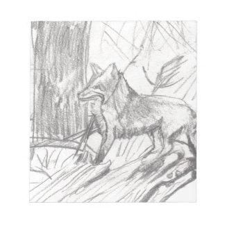 Fox, der Eliana zeichnet Notizblock