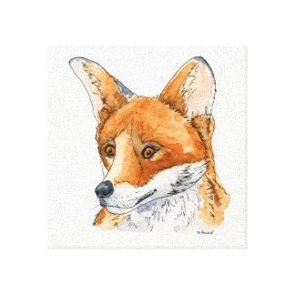 Fox in der Tinte und in der Wasserfarbe Galerie Gefaltete Leinwand