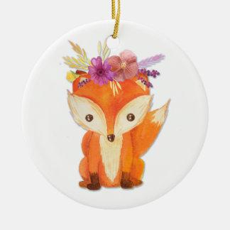 Fox mit Blumen-Krone Rundes Keramik Ornament