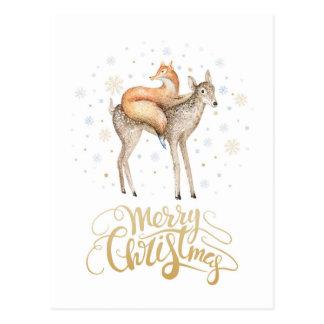 Fox-Rotwild-Winter-Schnee-frohe Weihnachten Postkarte