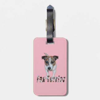 Foxterrier und Foxterrier-Logo, rosa Kofferanhänger