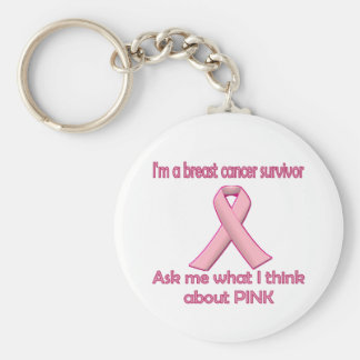 Fragen Sie einen Brustkrebsüberlebenden über Rosa! Schlüsselanhänger