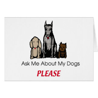 Fragen Sie mich über meine Hundekarte Karte