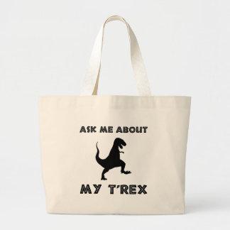Fragen Sie mich über T lustigen Rex Jumbo Stoffbeutel