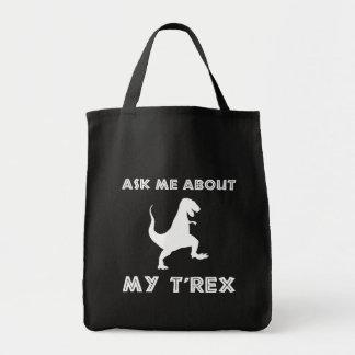 Fragen Sie mich über T lustigen Rex Tragetasche