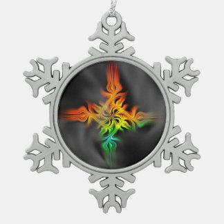 Fraktal-Flamme Schneeflocken Zinn-Ornament