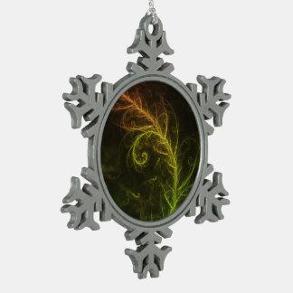 Fraktal-Kreuzung von Guzmania Tuti Fruitti und Schneeflocken Zinn-Ornament