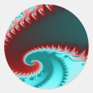 Fraktal-Welle Runder Aufkleber