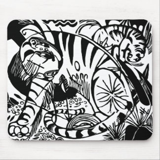 Franz Marc - Schwarzweiss-Tiger - abstrakte Kunst Mousepad
