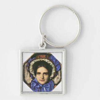 Franz von Stuck - Tochter Mary Silberfarbener Quadratischer Schlüsselanhänger