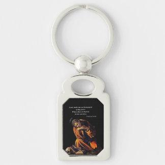 Franziskus-Instrument des Friedens Silberfarbener Rechteckiger Schlüsselanhänger