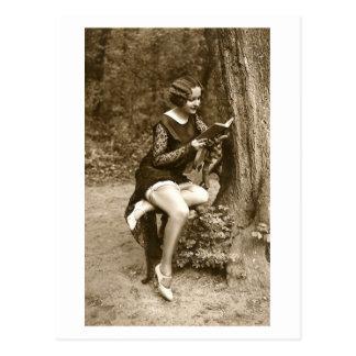 Franzose-Flirt - Vintage Pinup-Mädchen-Lesung Postkarte