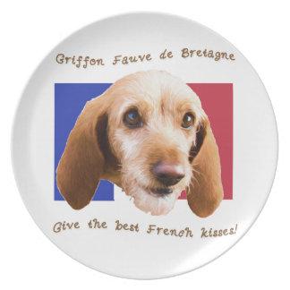 Franzose-Küsse Griffon Fauve de Bretagne Give gut Melaminteller