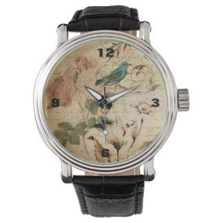 französische botanische Rose viktorianischer Vogel Armbanduhr