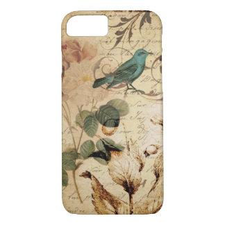 französische botanische Rose viktorianischer Vogel iPhone 7 Hülle