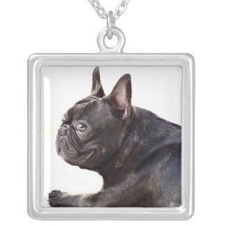 Französische Bulldogge Halskette Mit Quadratischem Anhänger