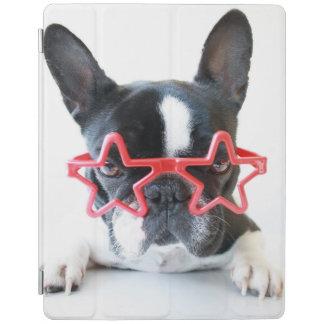 Französische Bulldogge mit roten Stern-Gläsern iPad Smart Cover