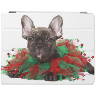 Französische Bulldogge tragender Weihnachtskragen iPad Hülle