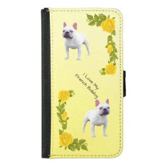 Französische Bulldogge und gelbe Rosen Samsung Galaxy S5 Geldbeutel Hülle