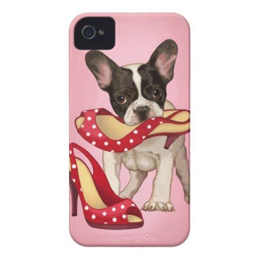 Französische Bulldogge und Tupfenschuh iPhone 4 Case-Mate Hülle