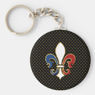 Französische Flaggen-Lilie mit Gold Standard Runder Schlüsselanhänger