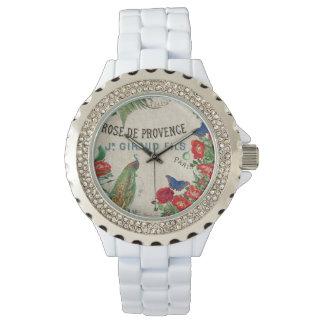 Französische Pfau-Vogel-Rosen-Blumen-Paris-Uhr Uhr