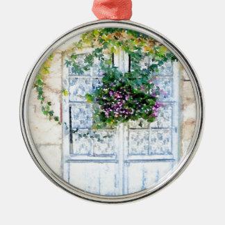 Französische Türen Rundes Silberfarbenes Ornament