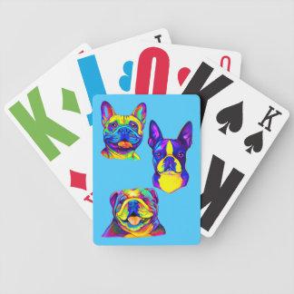 Französische und englische Bulldoggen und Boston Bicycle Spielkarten