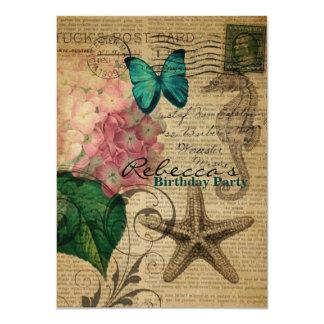 Französischer botanischer Kunst Seashell 11,4 X 15,9 Cm Einladungskarte